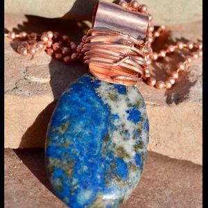 Blue Lapis Lazuli Copper Dog Tag Necklace Pendant
